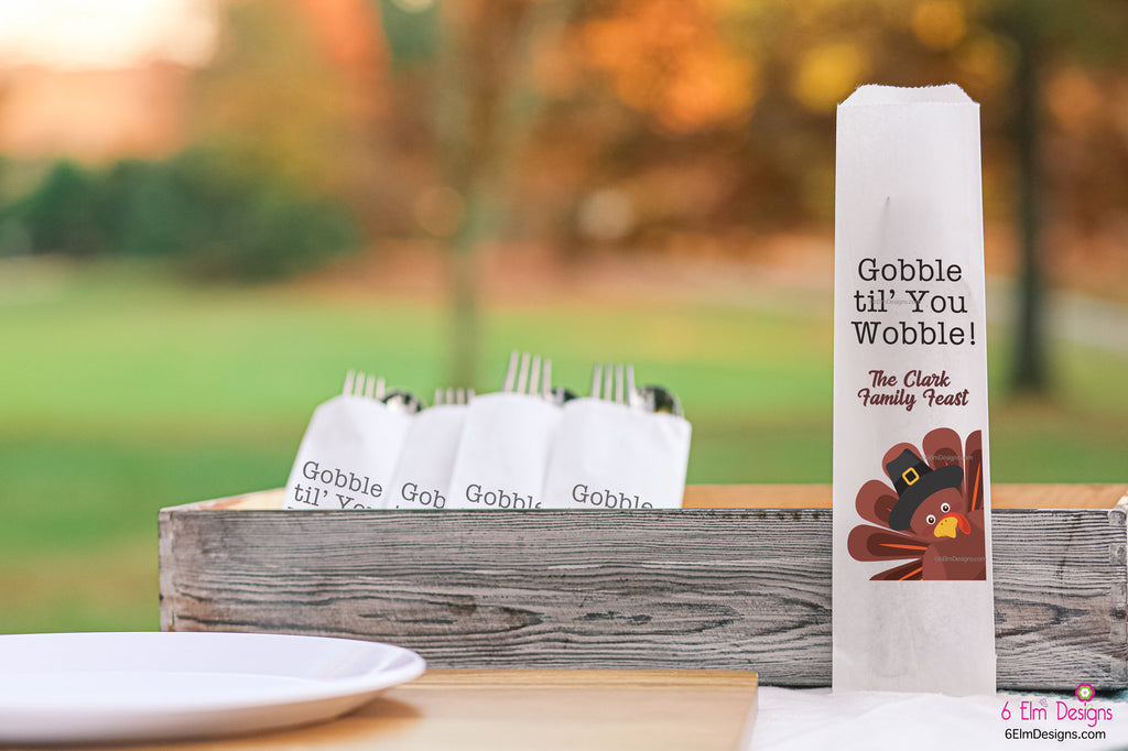 Thanksgiving Turkey Gobble Til You Wobble Silverware Utensil Flatware Bags Happy Thanksgiving Dinner Silverware Bags
