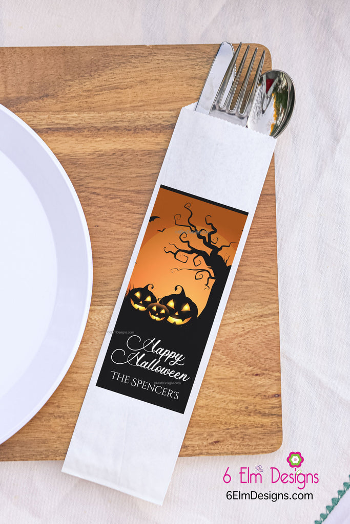 Happy Halloween Pumpkins Silverware Utensil Flatware Bags Happy Halloween Silverware Bags