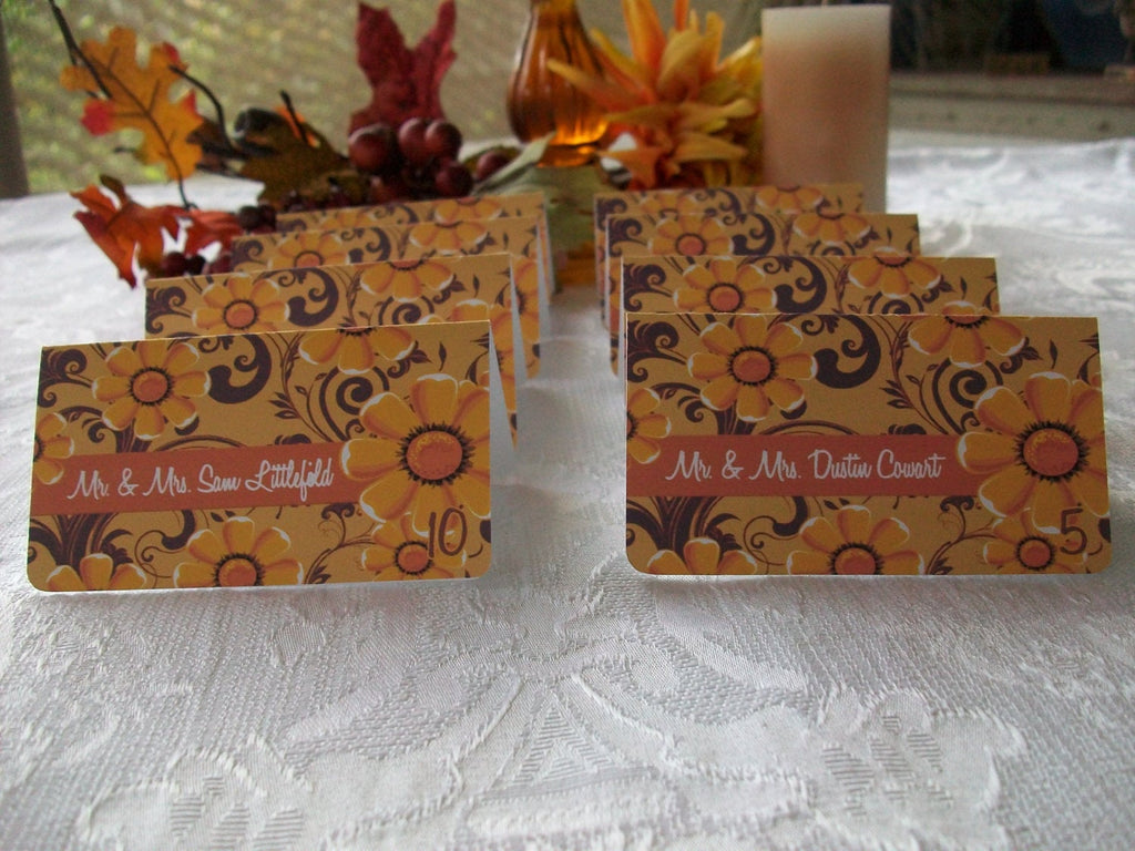 Fall Flowers, Mums and Brown Swirls Personalized Escort or Place Cards
