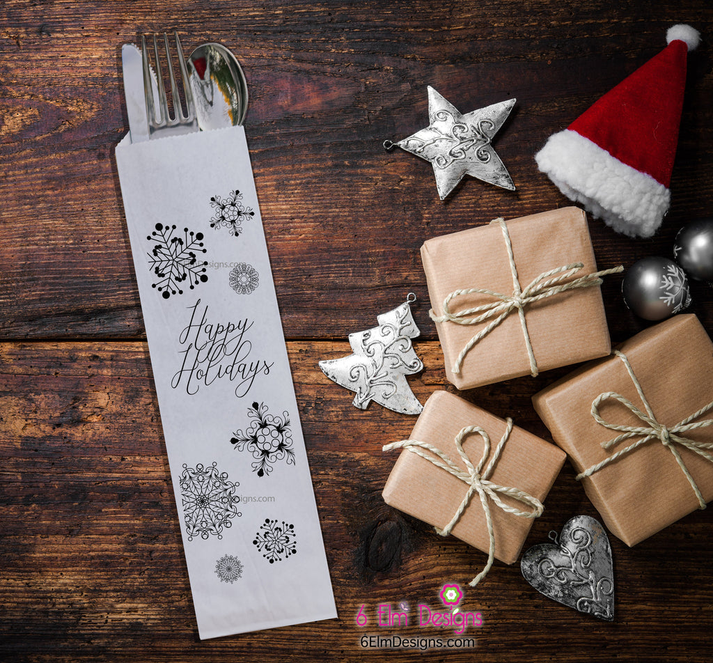 Farmhouse Happy Holidays Silverware Bags, Christmas Utensil Holders, Christmas Flatware Bags, Black and White Silverware Bags