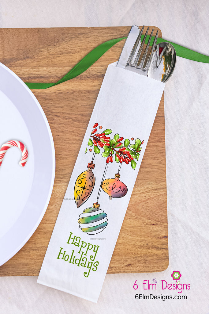 Happy Holidays Ornaments Silverware Bags, Christmas Utensil Holders, Christmas Flatware Bags, Christmas Silverware Pouches