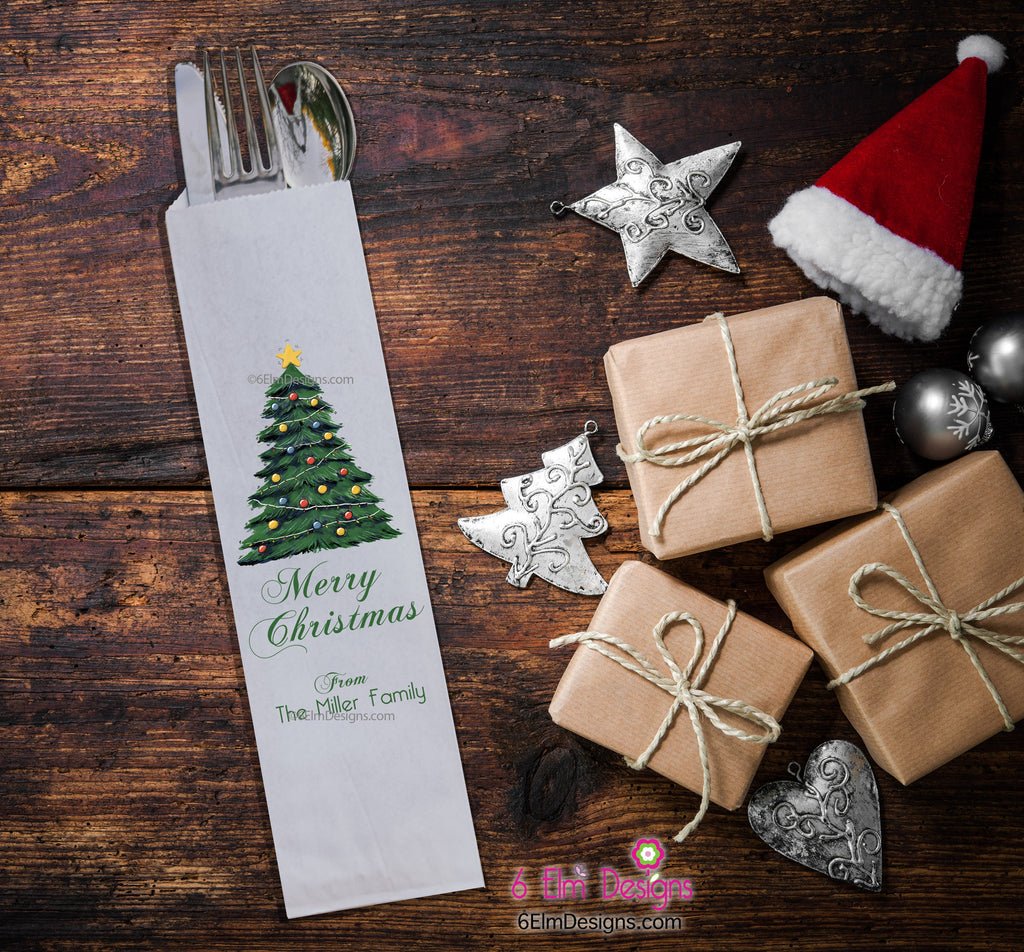 Christmas Tree Merry Christmas Silverware Bags, Christmas Utensil Holders, Christmas Flatware Bags, Christmas Silverware Pouches