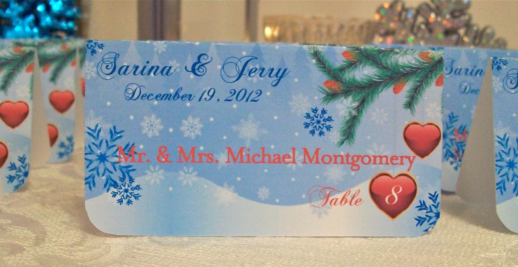 Winter Christmas Holiday Personalized Escort or Place Cards