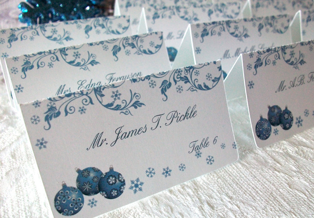 Snow and Christmas Ornament Personalized Place Cards