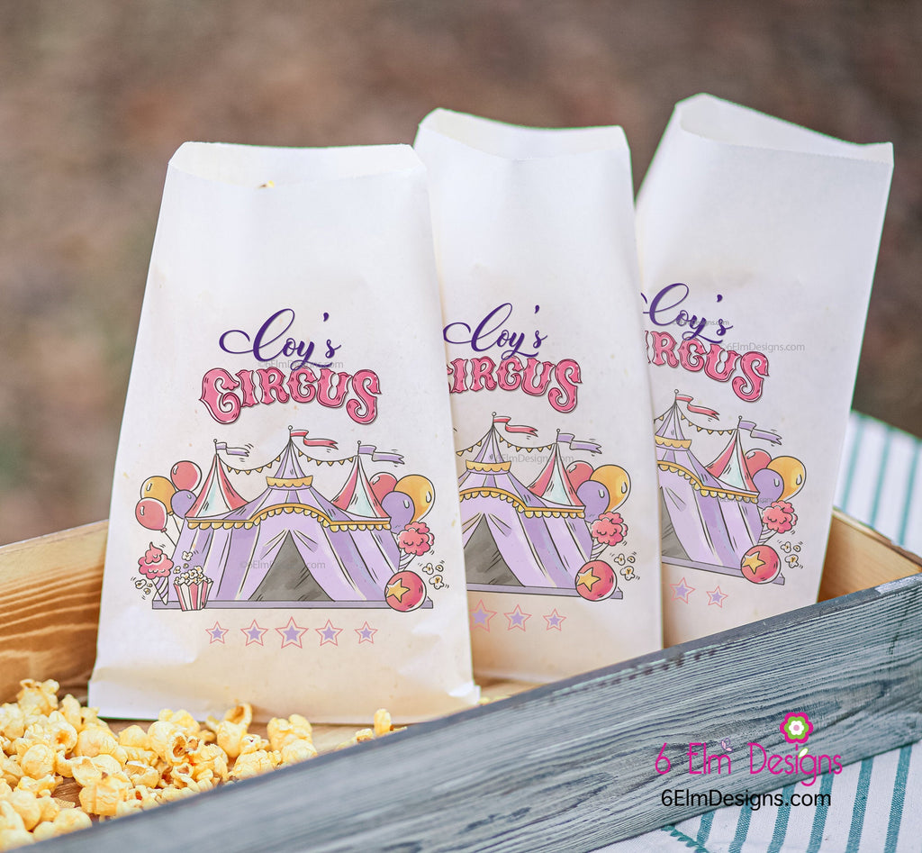 Girls Pastel Pink Circus Tent Carnival Party Favor Bags | Circus Party Favors, Popcorn Bags, Carnival Birthday, Girls Circus