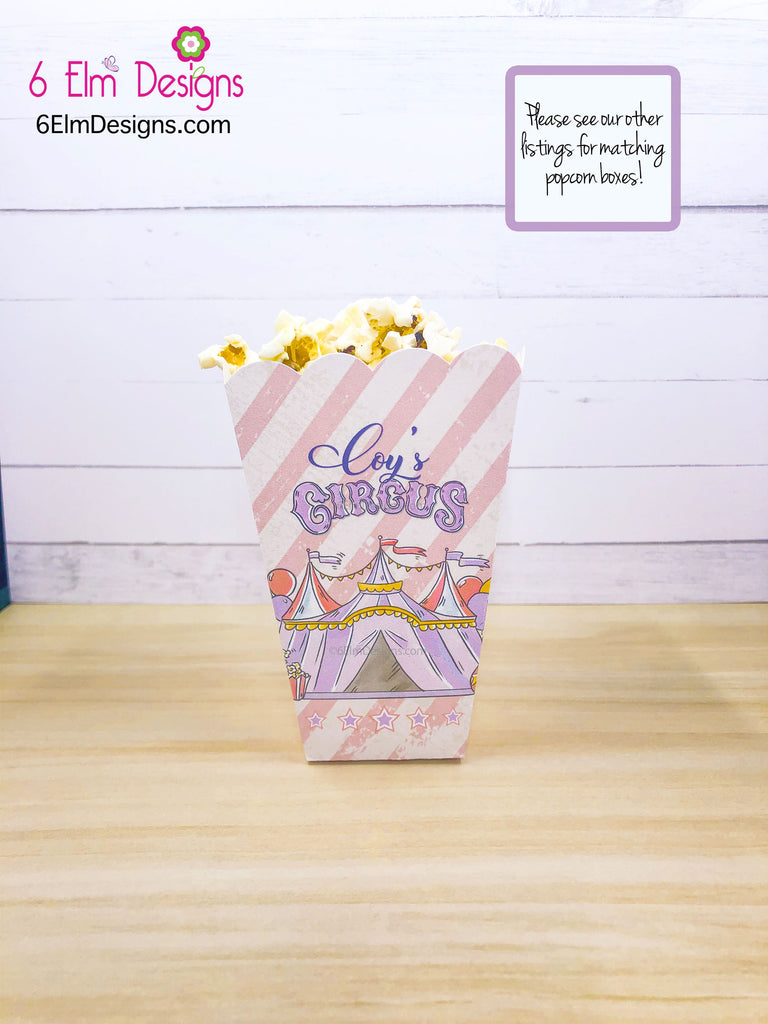 Pale Pink Animal Cracker Boxes, Animal Cookie Boxes, Pastel Pink and Purple, Girls Circus Party, Baby Circus Shower