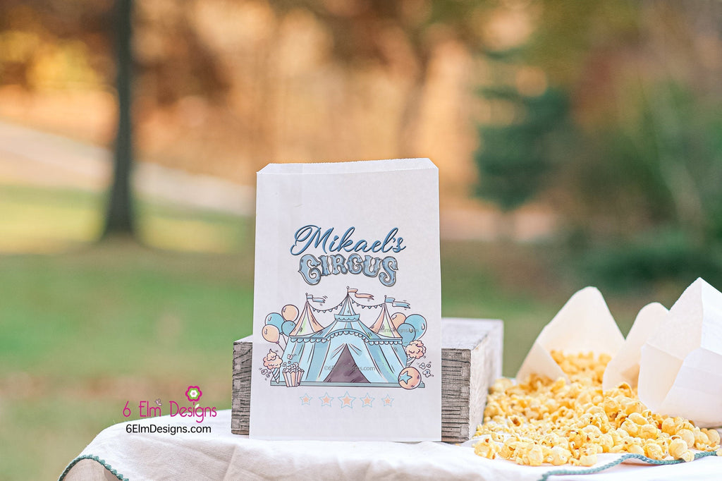 Boys Pastel Blue Circus Tent Carnival Party Favor Bags | Circus Party Favors, Popcorn Bags, Carnival Birthday, Boys Circus