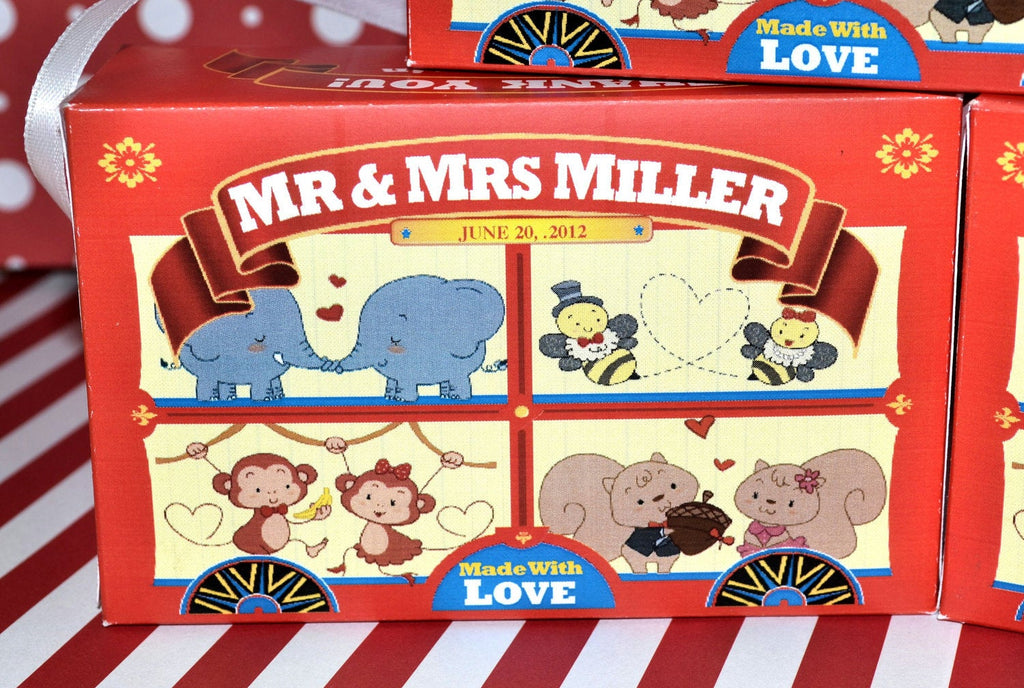 Animal Cracker Boxes Wedding Favors - Animals in Love