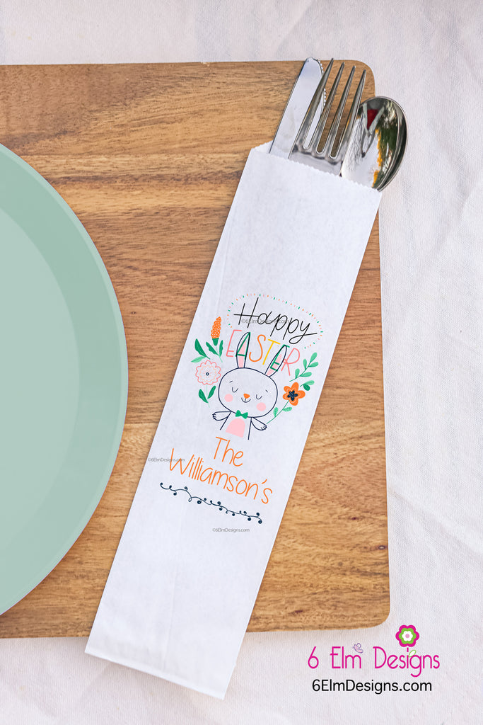 Happy Easter Easter Silverware Utensil Flatware Bags, Easter Bunny Silverware Pouches with Cross