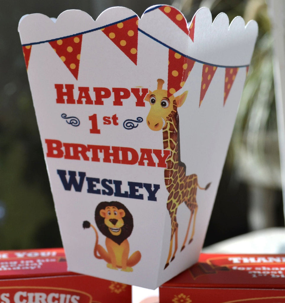 15 Personalized Circus Popcorn Boxes for Kids Birthday Circus Theme Favors Circus Theme Party Birthday Monkeys Lions Tigers Giraffe Favor