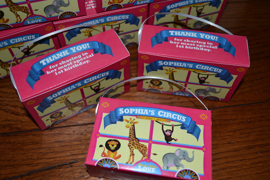 Pink Animal Cracker Boxes Carnival Theme Birthday