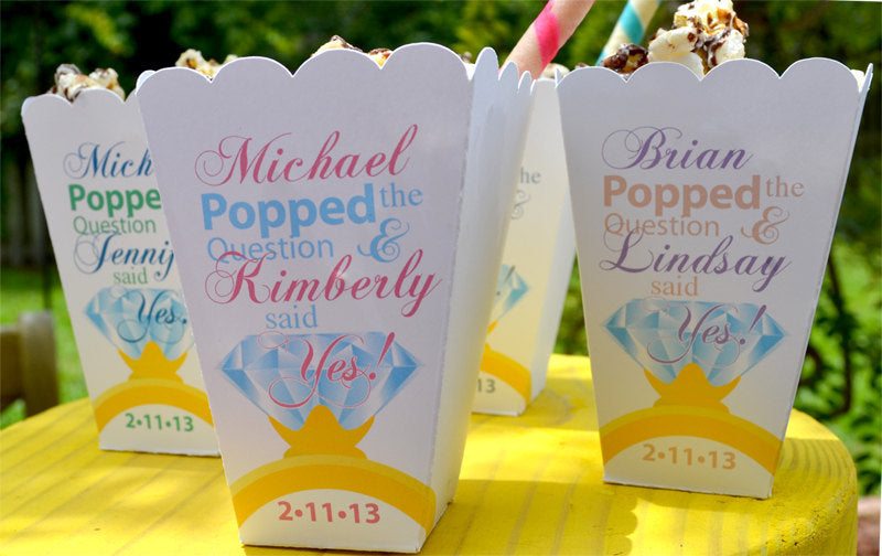 Popped the Question Popcorn Box Favors with Diamond Ring