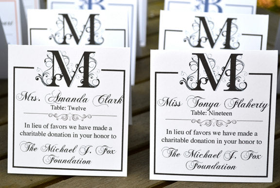 Charity Donation Wedding Personalized Escort Cards or Place Cards - 30 Pack