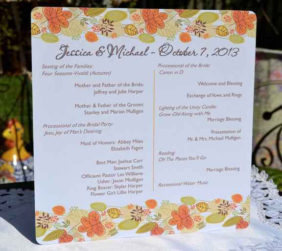 Fall Leaves Banner Autumn Personalized Wedding Program - 30 Pack