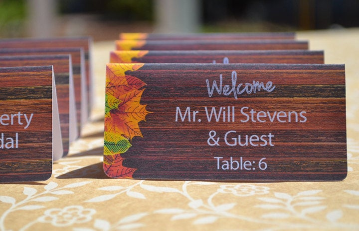 Fall Leaves and Wood Plank Personalized Escort Cards - 30 Pack