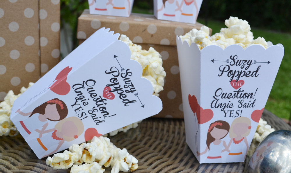 Personalized Same Sex Female Popped the Question Popcorn Box Favors