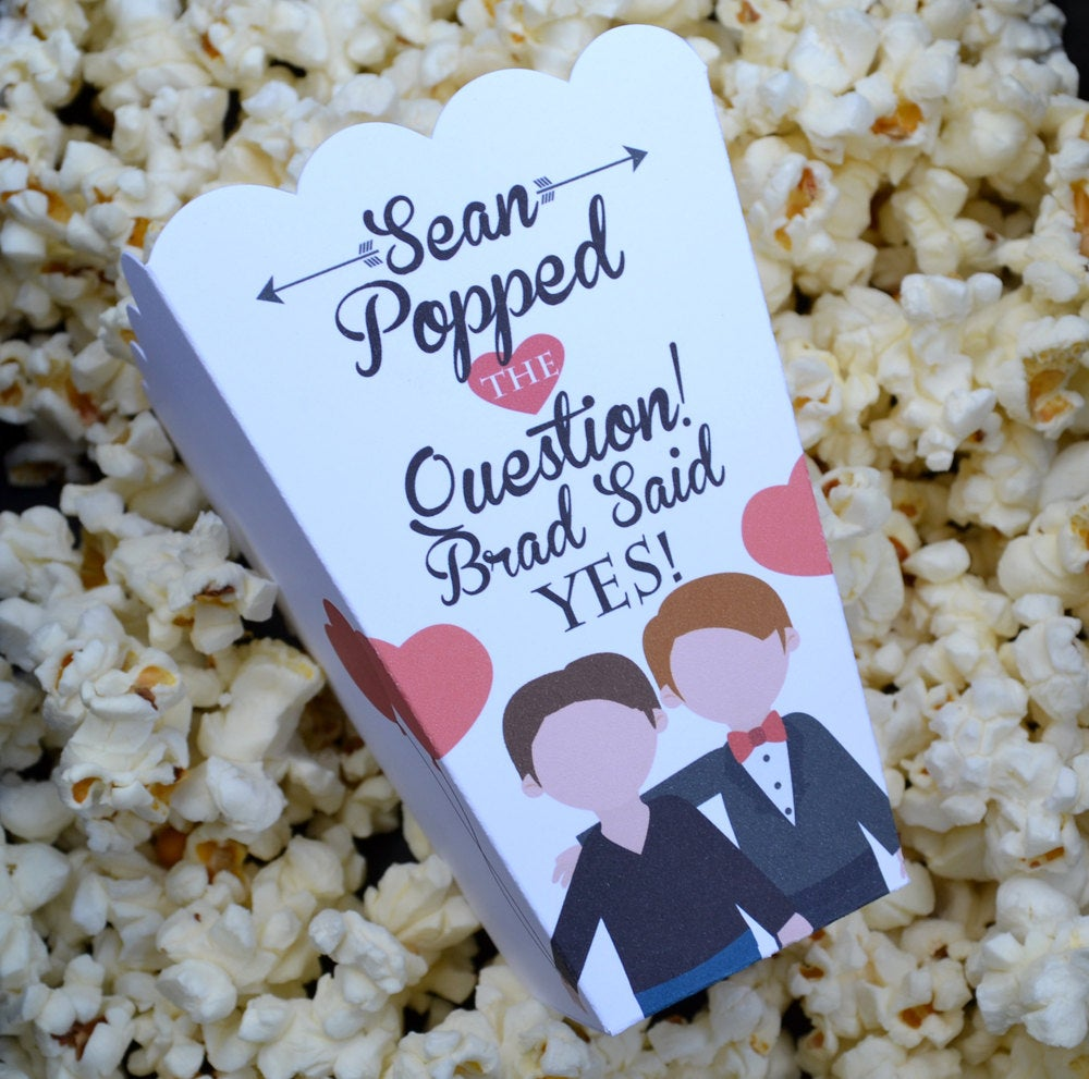Same Sex Male Popped the Question Popcorn Boxes
