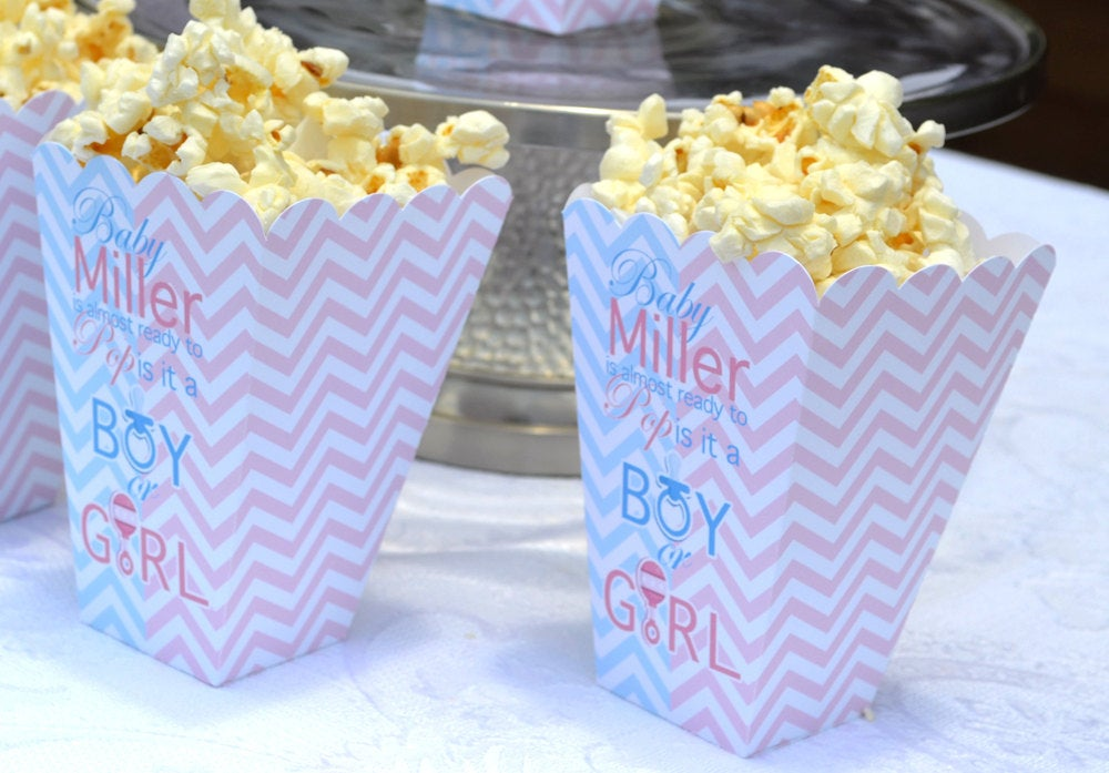 Gender Reveal Party Popcorn Boxes, Baby Sex Unknown Shower, Popcorn Box Favors, Popcorn Bar, Candy Bar, Pink and Blue Boxes, Boy or Girl