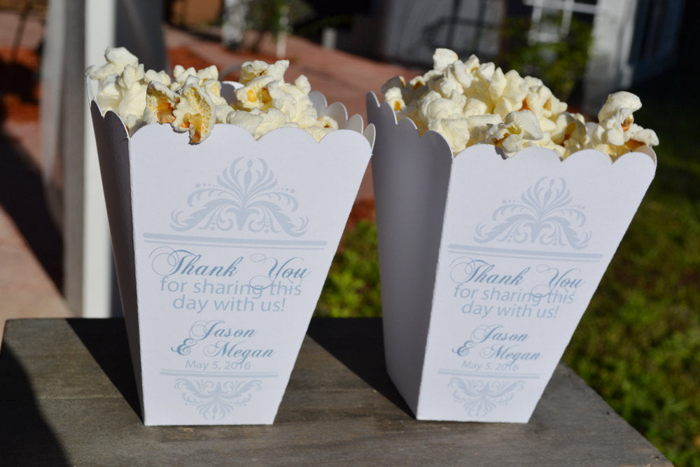 Thank You Wedding Popcorn Bar Boxes