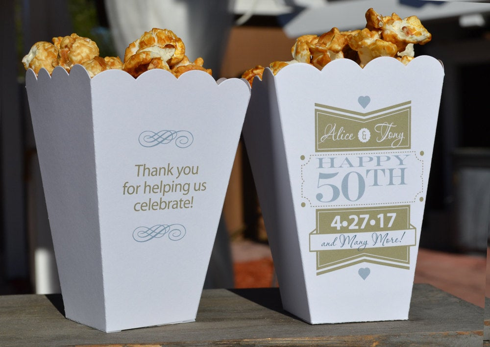 15 Personalized 50th Golden Anniversary Party Popcorn Bar Boxes with Names and Date