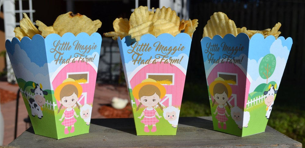 Farm Party Popcorn Boxes for Girls Birthday with Pink Barn