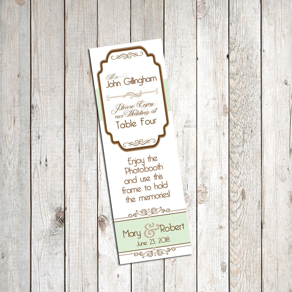 Personalized Escort Cards for Photo Booth Frames- 30 Pack