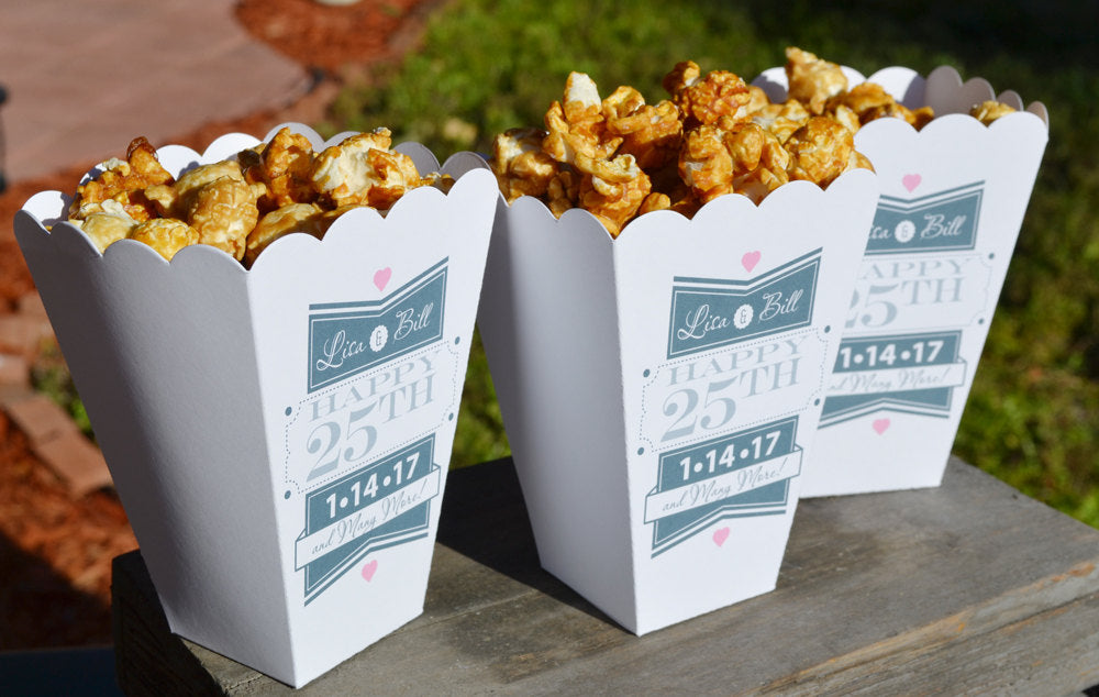 25th Silver Anniversary Party Popcorn Bar Boxes