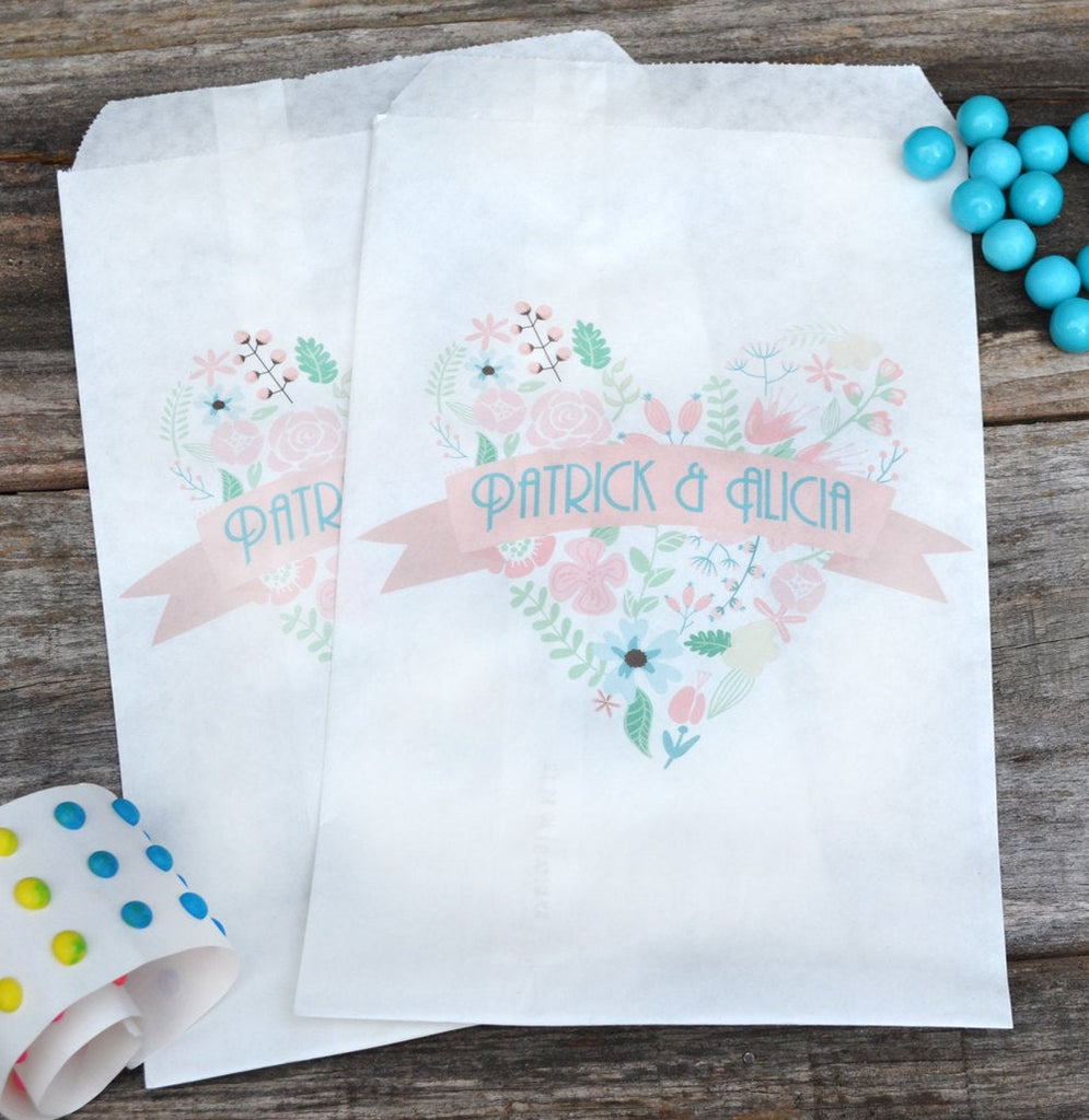 Shabby Chic Floral Heart Wedding Candy Bags