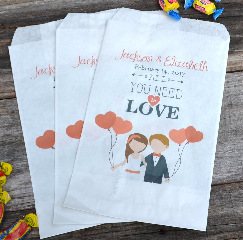 All You Need is Love Bride and Groom Personalized Favor Bags
