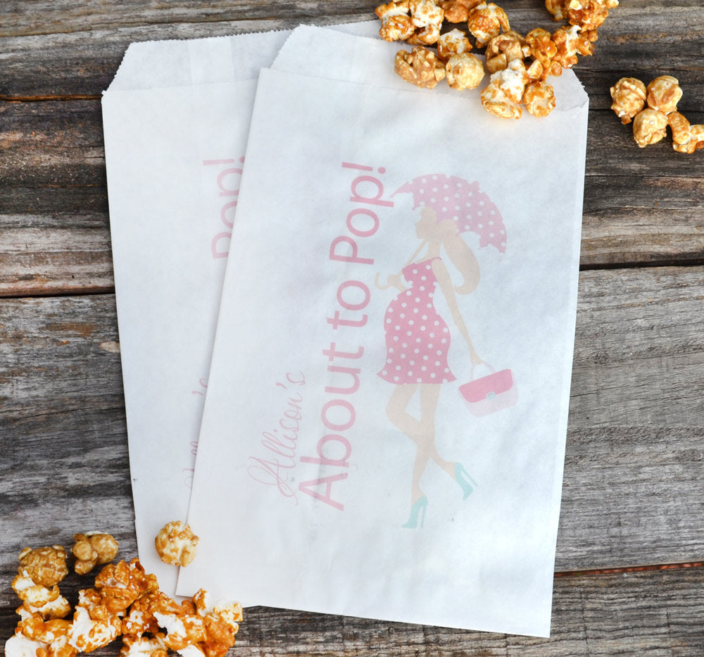 About to Pop Umbrella Girl Party Favor Bags, Pink