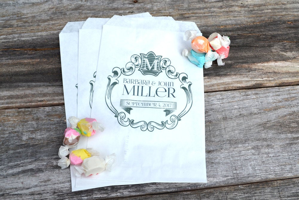 Wedding Candy Bags Shabby Chic Initial