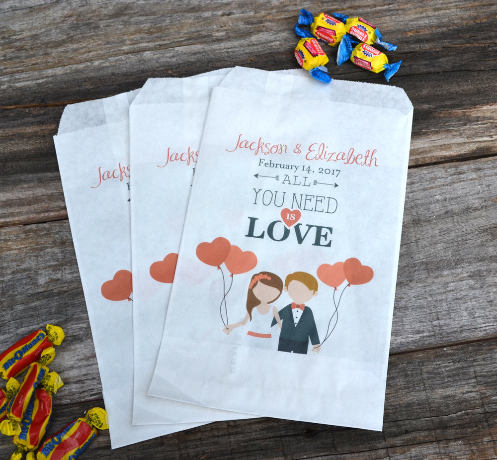 Wedding Candy Bags All You Need is Love | Bride and Groom Personalized Favor Bags | Weddings Favors | Engagement Party Favor | Popcorn Bars