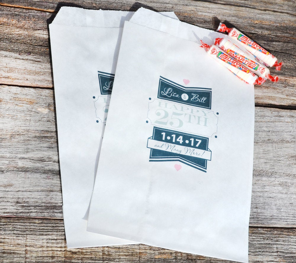 25th Anniversary Party Favor Bags