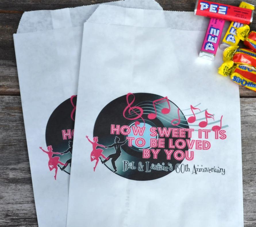 1950's Sockhop Personalized Paper Party Favor Bags