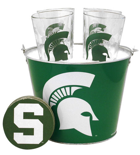 NCAA Michigan State Spartans Satin Etch Bucket And 4 Glass Gift Set - Sports Butler