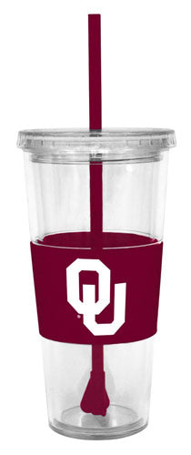 NCAA Oklahoma Sooners 22 Ounce Insulated Tumbler With Rubber Sleeve And Stir Straw - Sports Butler