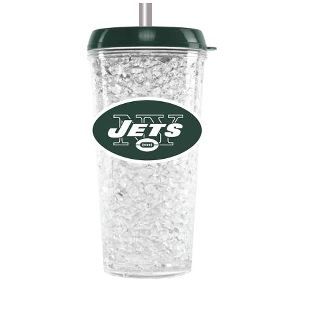 Duckhouse NFL New York Jets Crystal Freezer Straw Tumbler With Lid - Sports Butler