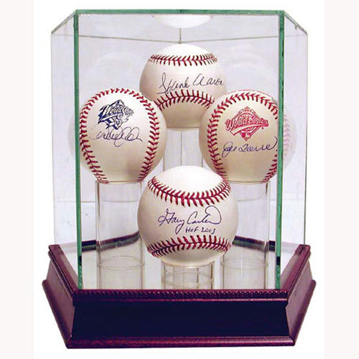 Four baseball glass display case - Sports Butler
