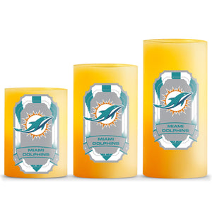 Duckhouse NFL Miami Dolphins 3-Piece LED Candle Gift Set - Sports Butler