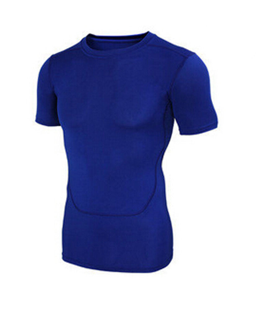 Mens Boys Sports Tight Fitting Clothes ,Short Sleeve Blue - Sports Butler