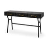 VINCE BLACK METAL W/GOLD ACCENTS THREE DRAWER WRITING DESK