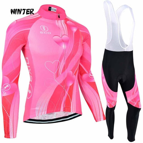 Women Winter Fleece Long Sleeves Cycling Sportswear