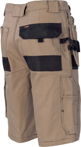 Duratex Cotton Duck Weave Tradies Cargo Shorts - with twin holster tool pocket - 3336