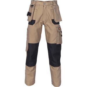 Duratex Cotton Duck Weave Tradies Cargo Pants with twin holster tool pocket - knee pads not included - 3337