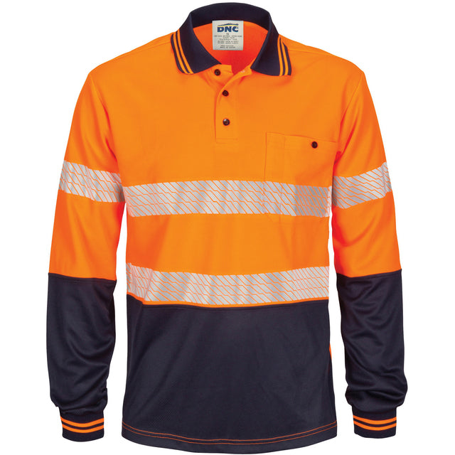 HIVIS Segment Taped Mircomesh Polo - Long Sleeve - 3513