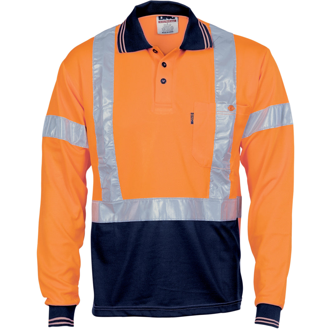 HiVis D/N Cool Breathe Polo Shirt with Cross Back R/Tape - Long Sleeve - 3714