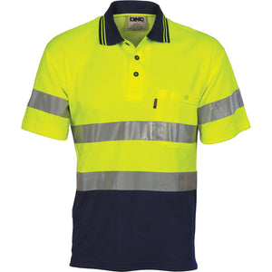 Hi Vis Two Tone Cotton Back Polos with Generic R.Tape - short sleeve - 3717