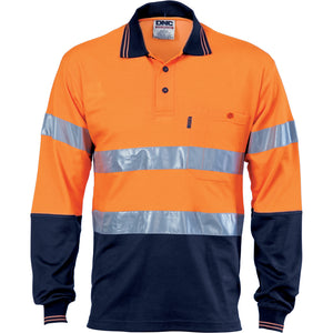 Hi Vis Two Tone Cotton Back Polos with Generic R.Tape - L/S - 3718