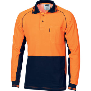 HiVis Cotton Backed Cool-Breeze Contrast Polo - long Sleeve - 3720