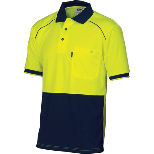 HiVis Cool-Breathe Front Piping Polo - Short Sleeve - 3754